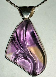 Reverse Carved Ametrine Pendant Set in Sterling Silver by dlcgems, SOLD  http://www.facebook.com/dlcgems https://www.etsy.com/shop/dlcgems http://www.dlcgems.com #dlcgems