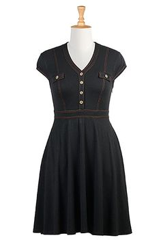 I <3 this Jersey knit A-line shirtdress from eShakti