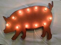 Rusted Recycled Metal Vintage Inspired PIG Swine Farm Animal Lighted Marquee Sign on Etsy, $119.00