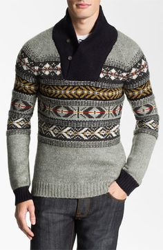 J.C. Rags Jacquard Shawl Collar Sweater available at #Nordstrom