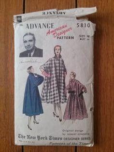 Vintage 1950s Pattern Coat Advance 5810 Designer Series Herbert Sondheim New Look B34 2015365 - pinned by pin4etsy.com