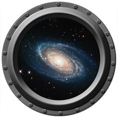 A Spiral Galaxy Seen Through A Porthole Vinyl Wall Decal. $13.00, via Etsy. - this is genious. I'd add a  tiny floating Stargate/ the Deathstar/ the Enterprise. Or put them in a row in the basement, and add ALL. :D