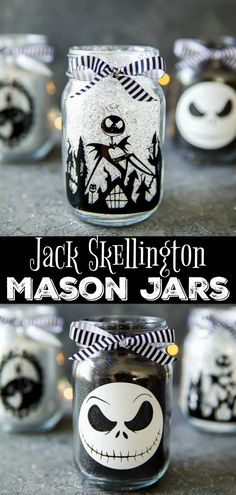 How to make The Nightmare Before Christmas mason jar luminaries. DIY glitter mason jars decorated with vinyl Jack Skellington desings. DIY Jack Skellington Mason Jars - how to make glitter mason jars for Halloween Halloween Dekoration Party, Diy Halloween Party, Easy Halloween Crafts, Dollar Store Halloween, Halloween Jack, Halloween Prop, Halloween Mason Jars, Halloween Decorations, Diy Crafts For Christmas