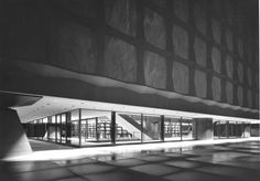 View into the foyer of the Beinecke Library at Yale University by American architect Gordon Bunshaft/SOM.