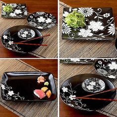 Featuring an off white floral Batik pattern against edgy black, this saucy set of Asian-inspired plates make dinnertime so much fun, you'll want to stay in! But don't cook - instead, order your favorite take-out sushi. With this sweet dinner set, you'll feel like you're at your favorite Japanese restaurant.