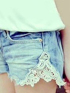 Cute Denim Doily Shorts You Will Need: -Fabric Doily -Scissors -Needle/Thread First, cut a small triangle on each side of your shorts (this is where the doily will go). Next place the doily on the missing triangle to use it for a cutting guideline. Attach the doily to the shorts using a needle and thread or a sewing machine.
