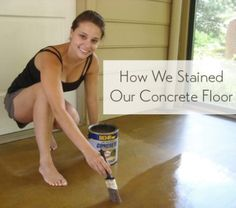 painted concrete floors how to stain a concrete floor in a sunroom using Behr concrete stain and a paintbrush Stained Concrete Porch, Painted Concrete Floors, Ideas For Concrete Floors, Concrete Floor Diy, Plywood Floors, Concrete Countertops, Acid Stained Concrete Floors, Concrete Lamp, Home Decor Ideas