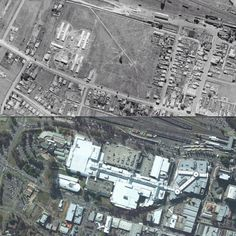Aerial view of the heart of Penrith, 1943 and 2010.    [1943: Spacial Information Exchange/NSW Land and Property Information - 2010: Google Maps/by Phil Harvey]