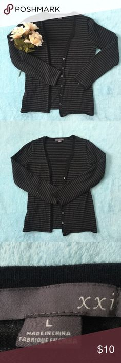 Black and Dark Grey Cardigan Black and dark grey striped cardigan with buttons! Sooo cute! 🖤✨ It's a little small but still comfy! xxi Sweaters Cardigans