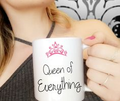 Coffee Cup | Queen of Everything Coffee Mug | Bitchy Coffee Mug | Sassy Coffee Cup for Friend | Best Bitch Coffee Mug | Queen Bee Coffee Cup by CaliforniaSocialHour on Etsy