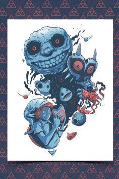 Awakening Giants, The Legend of Zelda: Majora's Mask artwork by Jorge Tirado. Graffiti, Character Design, Legend, Zelda Tattoo, Illustration, Manga Studio, Art, Anime Tattoos, Design Inspiration