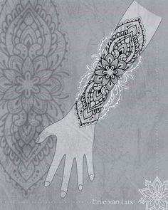Henna Tattoos, 42 Tattoo, Henna Tattoo Designs Arm, Mandala Tattoo Design, Tattoo Sleeve Designs, Love Tattoos, Body Art Tattoos, Girl Tattoos, Forearm Mandala Tattoo
