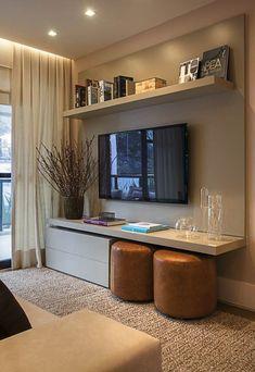 Дизайн маленькой гостиной, стена ТВ
