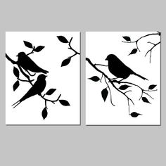 Birds of a Feather Duo Set of Two 8x10 Modern Bird by Tessyla