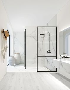 Give your bathroom an urban edge with a crittall-style shower screen. Here are our favourite Crittall-style shower screens in the UK. White Marble Bathrooms, Small Bathroom, Modern Bathrooms, Bathroom Ideas, Shower Bathroom, Bathroom Remodeling, Modern White Bathroom, Bathroom Black, Modern Shower