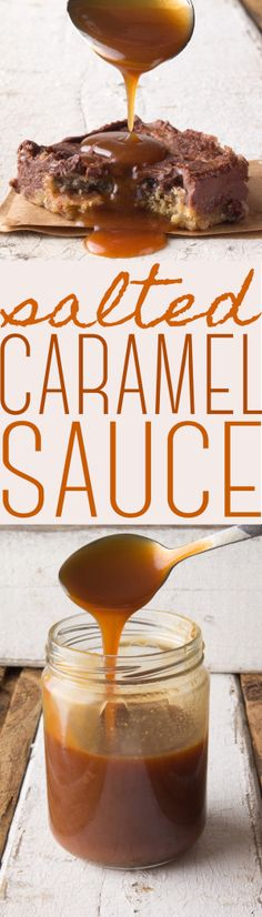Easy Salted Caramel Sauce Recipe | This is the BEST salted caramel sauce! Easy to make, delicious recipe using only 4 ingredients!