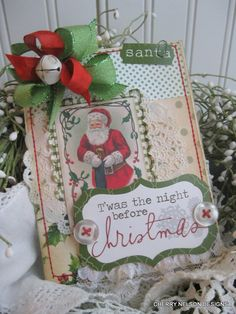 Vintage christmas Santa with stocking twas the night before christmas stitched handmade card. $8.75, via Etsy.