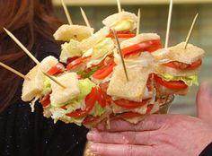 BLT Kebabs --- displayed in a glass vase filled with popcorn seeds. Super Cute!