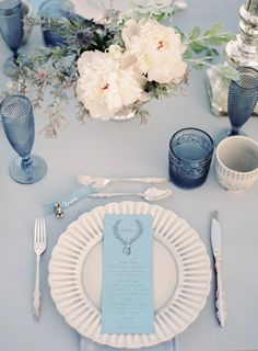 Beach Wedding Place Setting - 'Sea of Love' A Heavenly Beach Wedding Inspiration from Melanie Gabrielle Photography