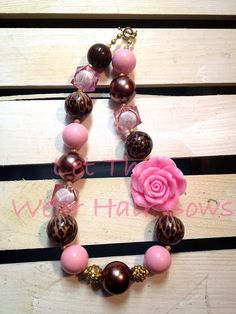 Cheetah, Pink , and Brown Chunky Bead Necklace for Little Girls, Toddler, Tween, Adult, Infant Photo Prop/Pictures, Trendy Gifts on Etsy, $14.00