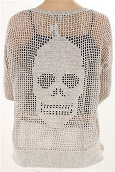 Autumn Cashmere- Hand Crochet Skull Sweater