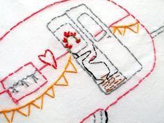 "PDF Camper Embroidery pattern - ""The LOVE SHACK"" camper"
