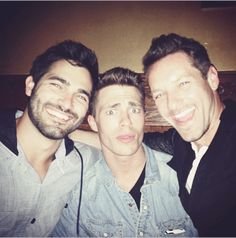 Tyler Hoechlin, Colton Haynes and Ian Bohen behind the scenes of Teen Wolf.