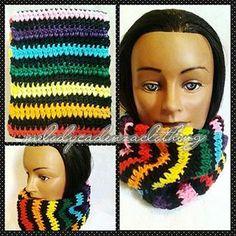Women's Black Rainbow Striped Infinity Scarf www.melodycadenzaclothing.com #Crochet #Handmade #Beanie