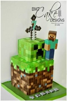 Minecraft cake with character, creeper decoration and sword