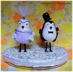 Topo de bolo noivinhos pombinhos