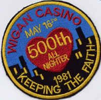 Wigan Casino 500th All Nighter badge, May 16th 1981