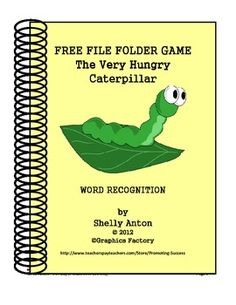 FREE File Folder Game Hungry Caterpillar - Promoting Success - TeachersPayTeachers.com