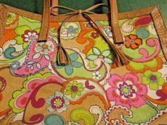 Liz-Claiborne-Purse-Floral-Paisley-Canvas-Purse-Tan-Faux-Gator-Trim-12-x-15
