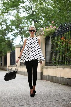 polka dots top with black leggings