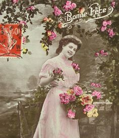 Antique French Postcard - Woman in a Long Pink Dresswith Flowers by ChicEtChoc on Etsy