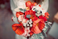 """Poppies and silver- another great textured bouquet. Love the way the silver gray of the foliage and accent pieces makes the poppies """"pop"""" Red Wedding, Wedding Colors, Rustic Wedding, J'ai Dit Oui, Wedding Bouquets, Wedding Flowers, Poppy Bouquet, Mint Bouquet, Bouquet Flowers"""