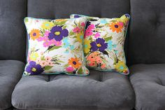 Upholstered Floral Pillow Cover with Insert