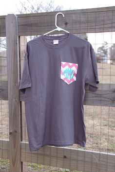 Short Sleeve Monogram Fabric Pocket T-Shirt/Tshirt Monogrammed Tshirt. $18.99, via Etsy.