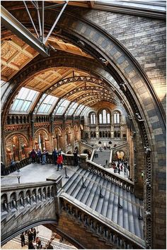 London England...The Natural History Museum.Entrance Hall...Romanesque Revival but with modern materials and structures such as terracotta and striking steel ribs to the roof. All decorated with natural imagery.