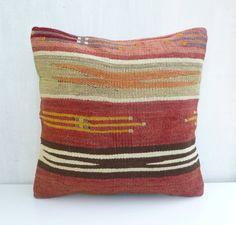 Rust Pillow Cover Vintage Kilim Cushion Retro Decor Woven Turkish Sham 40x40 16x16 Rustic Home Decor