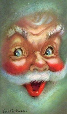 Unused Eve Rockwell Santa Christmas Card ~ (68C)