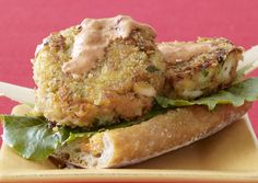 """Open-Face Crab Burgers with Red Pepper Dressing. """"Krabby Patties"""""""