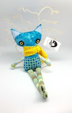 Stuffed plush cat soft toy softie cat toy by annatrimmeldesigns
