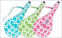 Personalized Quilted Tennis Racquet Cover - Lots O' Dots - Pink. $26.50, via Etsy.