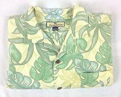 TOMMY-BAHAMA-Shirt-SILK-Flower-Print-CAMP-Short-Sleeve-HAWAIIAN-Green-MENS-L