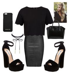 """""""^black out^"""" by kyrahpaiget ❤ liked on Polyvore featuring Jitrois, Ted Baker, Steve Madden, MICHAEL Michael Kors and Givenchy"""
