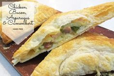2 Chicken, Bacon, Asparagus & Camembert Hand Pies Deceptively simple yet full of flavour, these chicken, bacon, asparagus and camembert hand pies