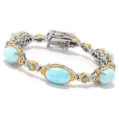 156-213 - Gems en Vogue 12 x 8mm Larimar & Swiss Blue Topaz Line Bracelet