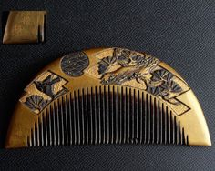 Great Gold Makie Japanese Carved Lacquer Hair Comb Signed Kanzashi Oiran | eBay