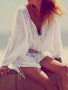 White V-neck Tied Side Long Sleeve Textured Blouse - Choies.com #blouse #whitetie #women #covetme
